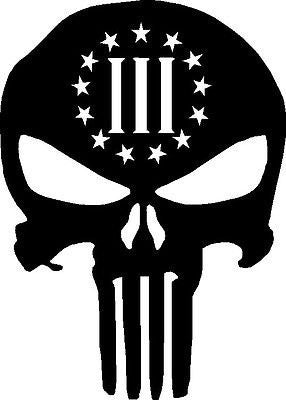 3 Percenter Skull Punisher Gun Rights vinyl sticker - MyMonkeySticker.com