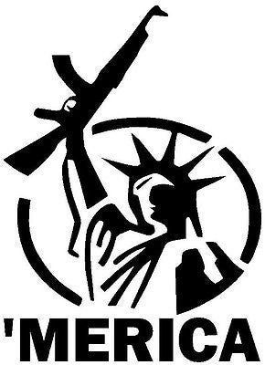 Merica Staue Of Liberty AK  Vinyl Car/Laptop/Window/Wall Decal - MyMonkeySticker.com