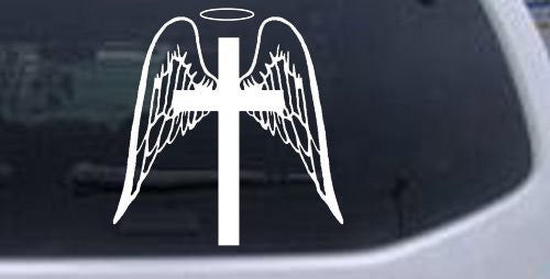 Angel Wings Cross Halo Christian  Car Window Ipad Tableet PC Notebook Cumputer Decal Sticker - MyMonkeySticker.com