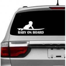 Baby on Board Boy on Surfboard Decal Sticker wall car - MyMonkeySticker.com