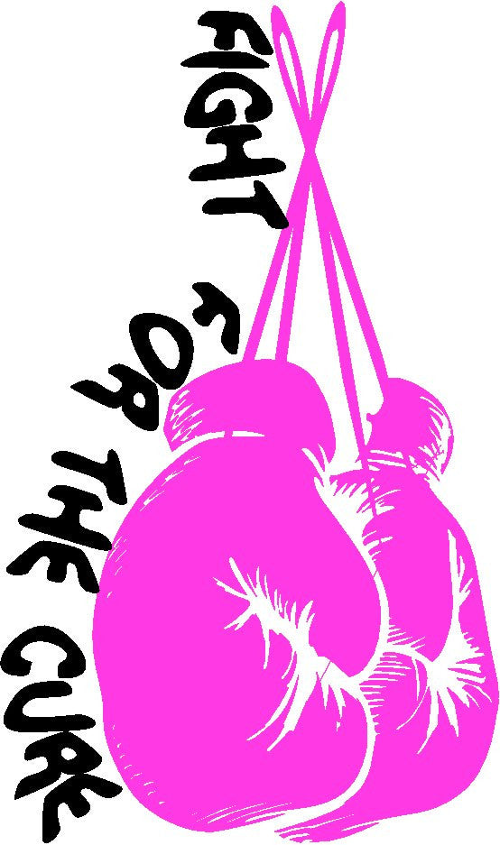 Boxing Gloves Pink FIGHT FOR THE CURE Breast Cancer Awareness Ribbon Decal Sticker For Car Windows Laptop, book, wall, Room, Truck - MyMonkeySticker.com