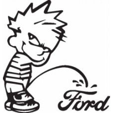 Calvin Piss Pee on Ford Vinyl Decal Funny Sticker Wall, Room, Car, Truck, Boat, Laptop - MyMonkeySticker.com