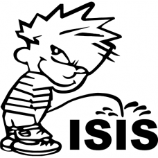 Calvin Piss Pee on Isis Vinyl Decal Funny Sticker Wall, Room, Car, Truck, Boat, Laptop - MyMonkeySticker.com