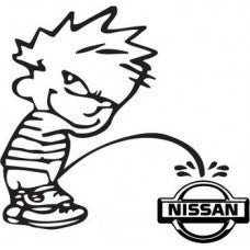 Calvin Piss Pee on Nissan Vinyl Decal Funny Sticker Wall, Room, Car, Truck, Boat, Laptop - MyMonkeySticker.com