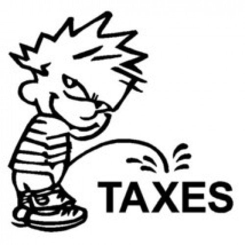 Calvin Piss Pee on Taxes Vinyl Decal Funny Sticker Wall, Room, Car, Truck, Boat, Laptop - MyMonkeySticker.com
