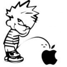 Calvin Piss Pee on mac apple Vinyl Decal Funny Sticker Wall, Room, Car, Truck, Boat, Laptop - MyMonkeySticker.com