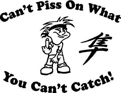 Can't Piss On What You Cant Catch  Vinyl Car/Laptop/Window/Wall Decal - MyMonkeySticker.com