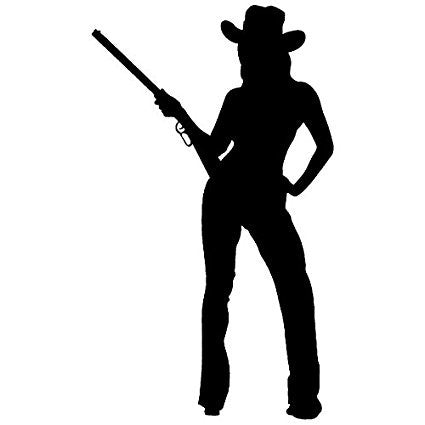 Cowgirl Gun Vinyl Car/Laptop/Window/Wall Decal - MyMonkeySticker.com
