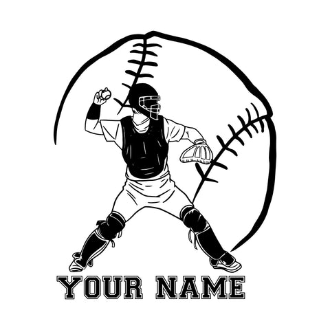 Custom Baseball Png Player Clipart Black and White Vinyl Sticker Car Wall Window