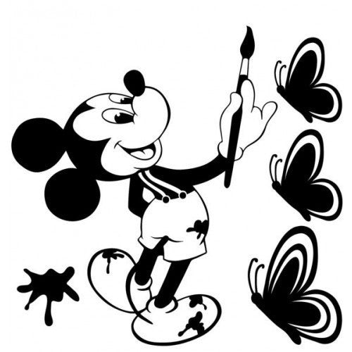 Disney Mickey Mouse Paint Vinyl Graphic Butterfly Decal Car Window Sticker Cute Funny wall - MyMonkeySticker.com