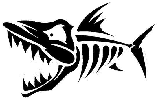 Fish Skeleton Adhesive Decal Sticker Vinyl Decorative for Wall Car Auto Ipad Macbook Laptop - MyMonkeySticker.com