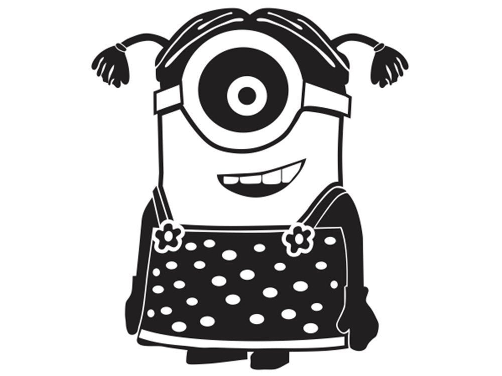 Girl Minion decal wall window - MyMonkeySticker.com