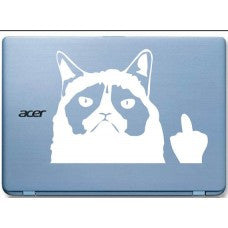 Grumpy Cat middle finger Automobile Car Window Decal Tablet Decal Tablet PC Sticker Automobile Window Wall Laptop mobile Computer Notebook - MyMonkeySticker.com