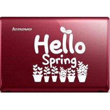 Hello Spring Automobile Decal Car Window Decal Notebook Macbook Tablet PC Computer Automobile Window Wall Laptop Notebook Ipad cell phone - MyMonkeySticker.com
