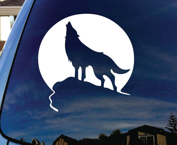 Howling Wolf Moon Car Window Vinyl Decal Sticker - MyMonkeySticker.com