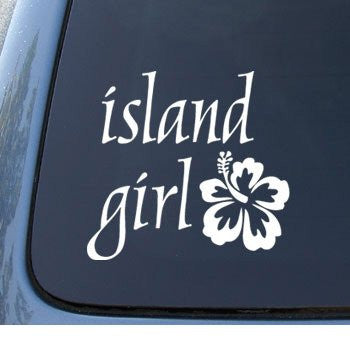 ISLAND GIRL Hawaii Hibiscus - Car, Truck, Notebook, Vinyl Decal Sticker - MyMonkeySticker.com