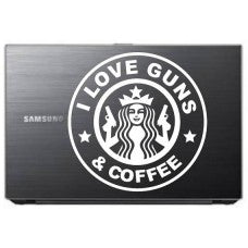 I love Guns and Coffee Car Window Decal Tablet PC Sticker Window Wall iphone Laptop Notebook Ipad macbook pro apple - MyMonkeySticker.com