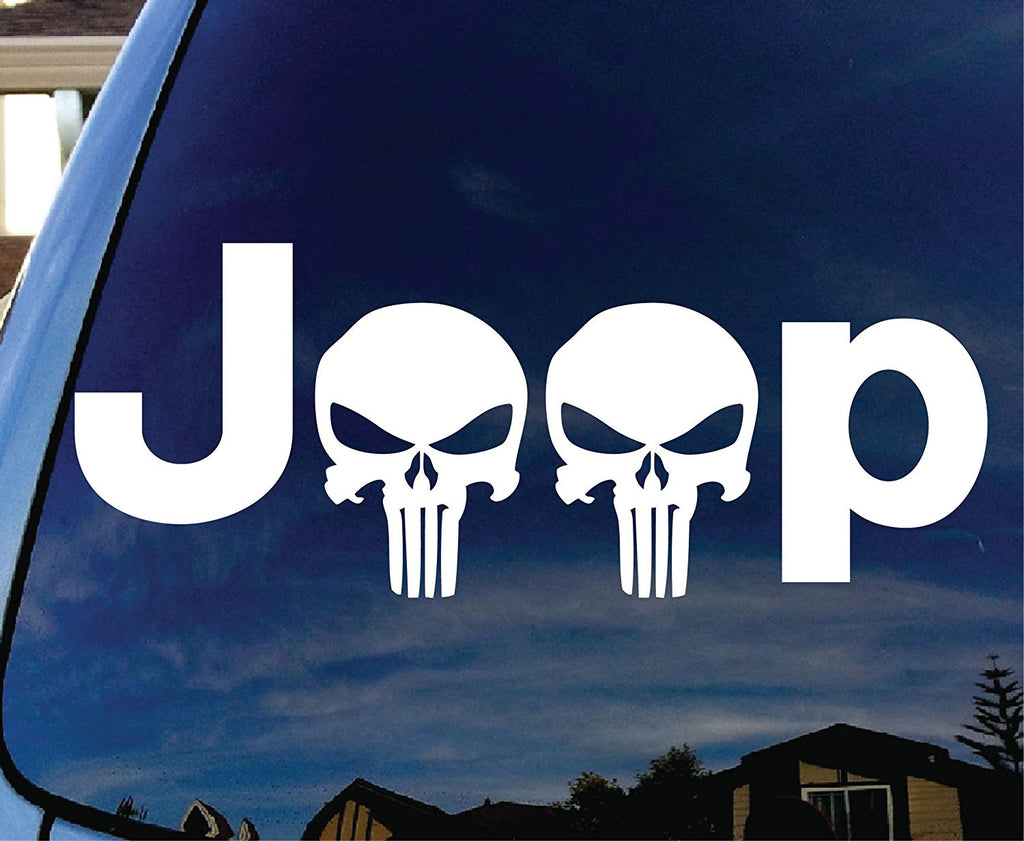 Jeep with Punisher Skull Head Car Window Vinyl Decal Sticker - MyMonkeySticker.com
