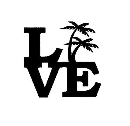 Love Palm Tree  Vinyl Car/Laptop/Window/Wall Decal - MyMonkeySticker.com