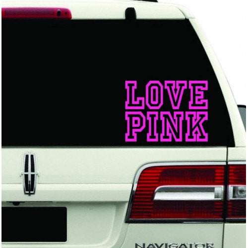 Love Pink Decal Sticker Hot Pink girl sexy lip mark kiss chick Room Car Wall cute fun for Car Room Wall Car Laptop - MyMonkeySticker.com