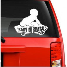 On Board Baby Boy on Skateboard Decal Sticker car wall - MyMonkeySticker.com
