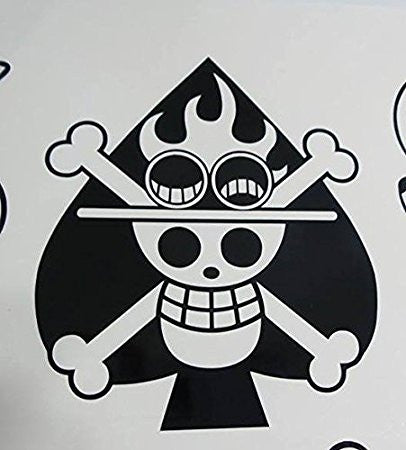 One piece monkey anime Jolly Rogers Ace of spades pirate flag decal sticker - MyMonkeySticker.com