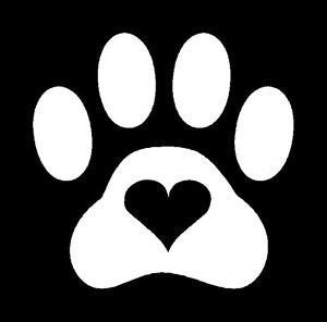 Paw Print Heart Love  Vinyl Car/Laptop/Window/Wall Decal - MyMonkeySticker.com