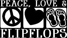Peace Love Flip-Flops Vinyl Car/Laptop/Window/Wall Decal - MyMonkeySticker.com