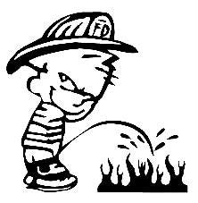 Piss On Fire Firefighter  Vinyl Car/Laptop/Window/Wall Decal - MyMonkeySticker.com