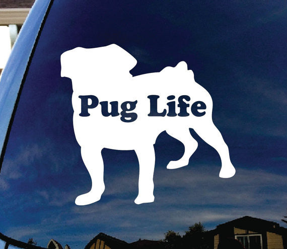 Pug Life Puppy Dog Car Window Vinyl Decal Sticker - MyMonkeySticker.com