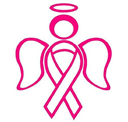 RIBBON ANGEL decal sticker support breast cancer - MyMonkeySticker.com