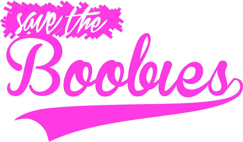 Save the Boobies Baseball Font Ribbon with Feathers Breast Cancer Awareness Decal Sticker For Car Windows Laptop, book, wall, Room - MyMonkeySticker.com