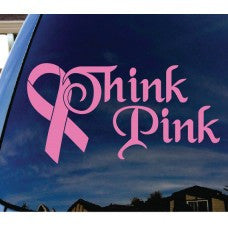 Think Pink Breast Cancer Pink Ribbon Automobile Tablet PC Sticker Wall Laptop mobile truck Notebook macbook Iphone Ipad Car Window Decal - MyMonkeySticker.com