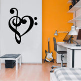 Treble and Bass Clef heart Sticker