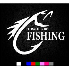 Vinyl I'd Rather Be Fishing Decal Sticker Bass Catfish Lake Salt Color fish Wall Room - MyMonkeySticker.com