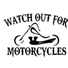 Watch Out For Motorcycles Chopper Vinyl Decal Sticker CUSTOM car wall - MyMonkeySticker.com