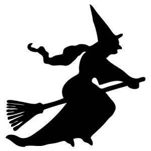 Witch On A Broom Stick Vinyl Car Decal - MyMonkeySticker.com