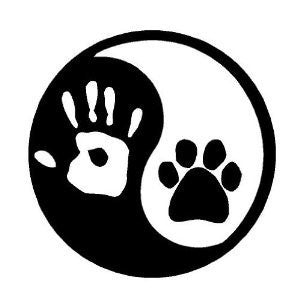 Ying Yang Paw Print Hand Print  Vinyl Car/Laptop/Window/Wall Decal - MyMonkeySticker.com
