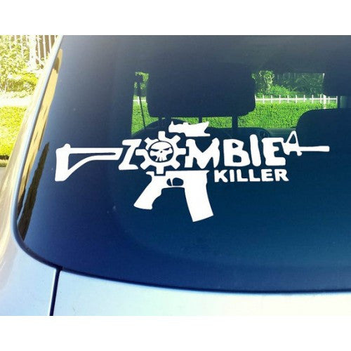 Zombie Killer Gun Automobile Window Decal Sticker - MyMonkeySticker.com