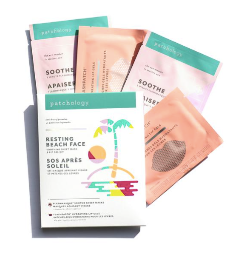 Patchology Resting Beach Face Mask and Lip Gels