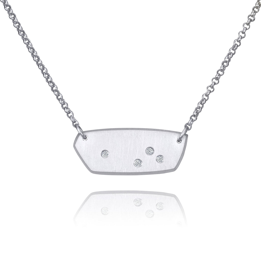Skipping Stone Necklace w/ Moissanites
