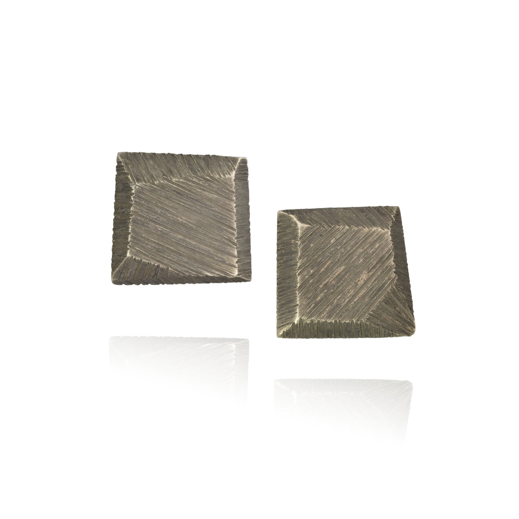 Polygon Textured Square Studs w/ Patina