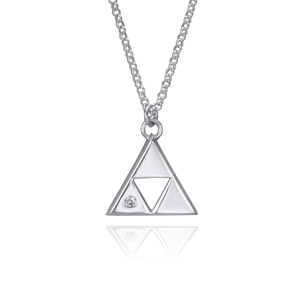 Triforce Necklace with Moissanite - Silver