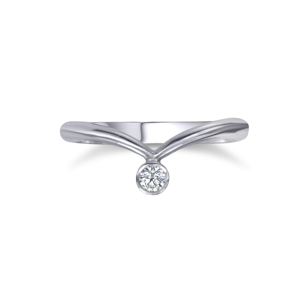 Offset Base Ring with CZ - Silver