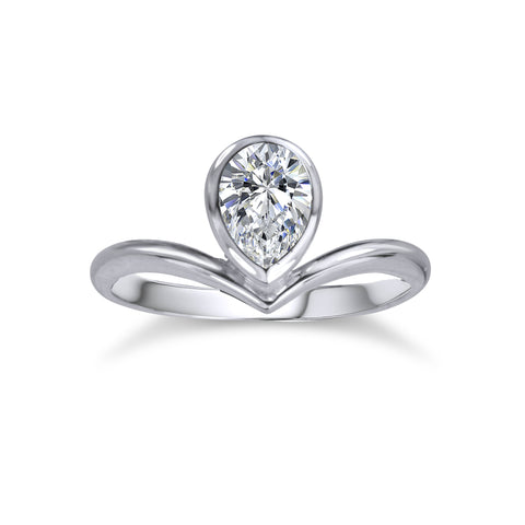 Offset Pear CZ Ring - Silver