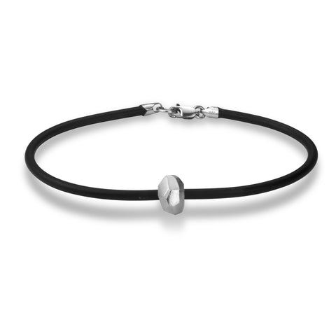 Polygon Single Nugget Bracelet - Silver and Rubber