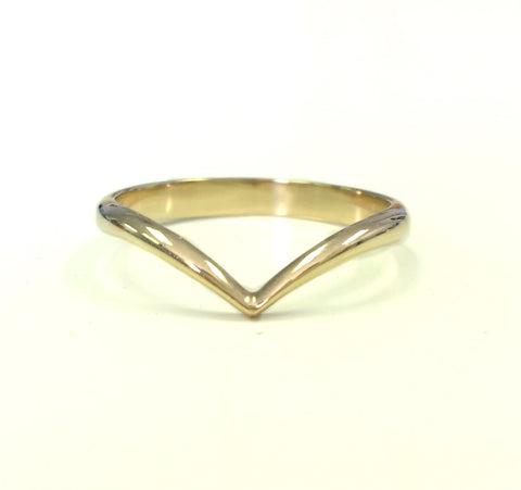 Offset Yellow Gold V Ring