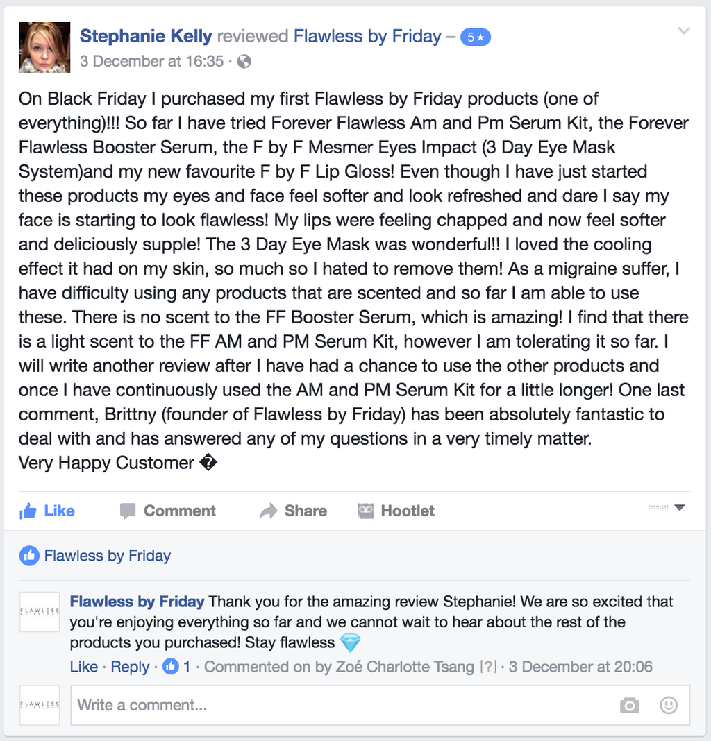 Happy customer from Facebook!