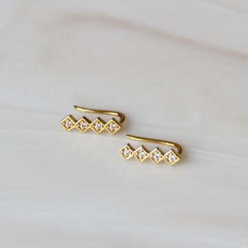 SQUARE PAVE EAR CLIMBERS