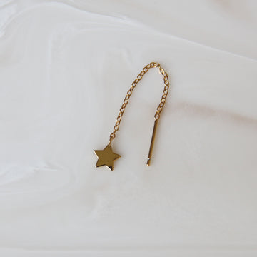STAR THREADER EARRING (SINGLE or PAIR)
